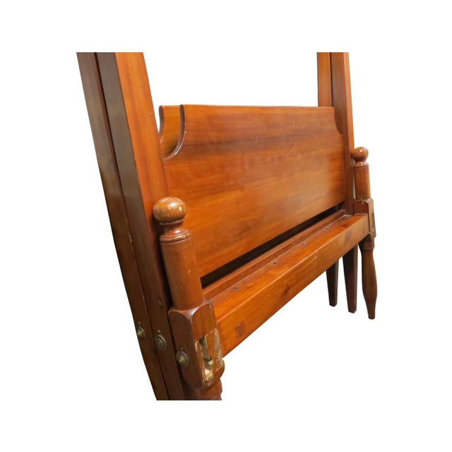 Late 19th Century Antique Early American Federal Style Pencil Post Twin Size Half Tester Beds - a Pair For Sale - Image 5 of 12