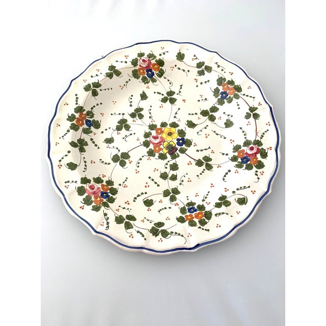 Large Ceramic Hand Painted Serving Dish. This Vintage artisanal piece is made in Italy. Decorated with colorful flowers...