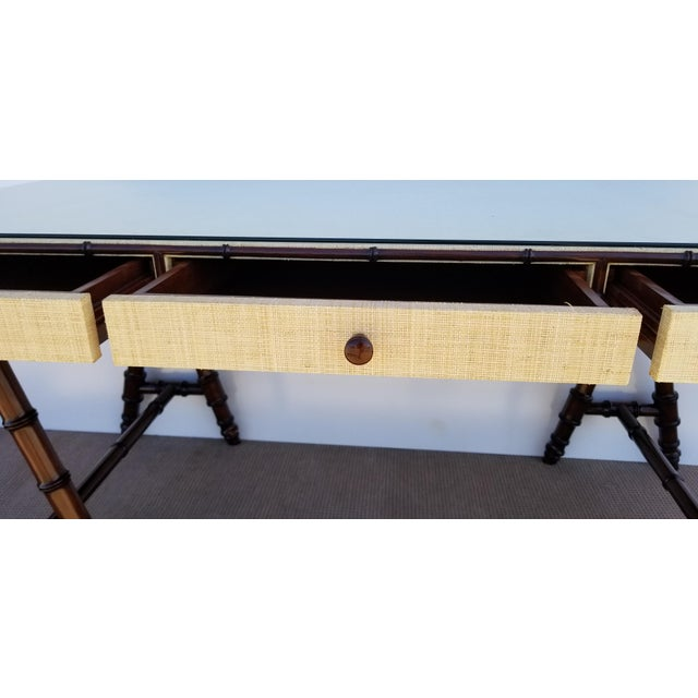 Metal Hollywood Regency Williams Sonoma Home Faux Bamboo and Cane Classic Desk For Sale - Image 7 of 13