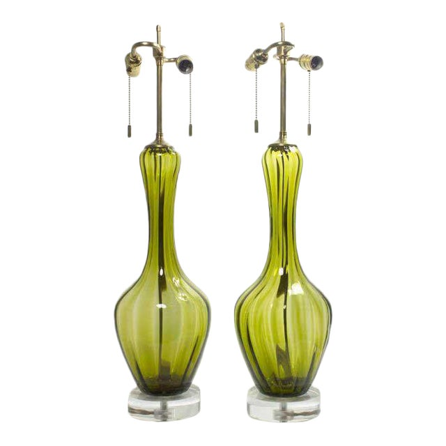 Green Murano Glass Absinthe Colored Lamps - a Pair For Sale