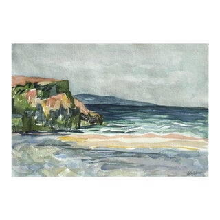 """1960s """"California Seascape, and Botanical Study"""" Double-Sided Watercolor Painting For Sale"""
