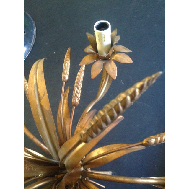 1950s 1950's Maison Bagues Antiqued Gilt Tole 5 Light Sheaf of Wheat Chandelier For Sale - Image 5 of 11