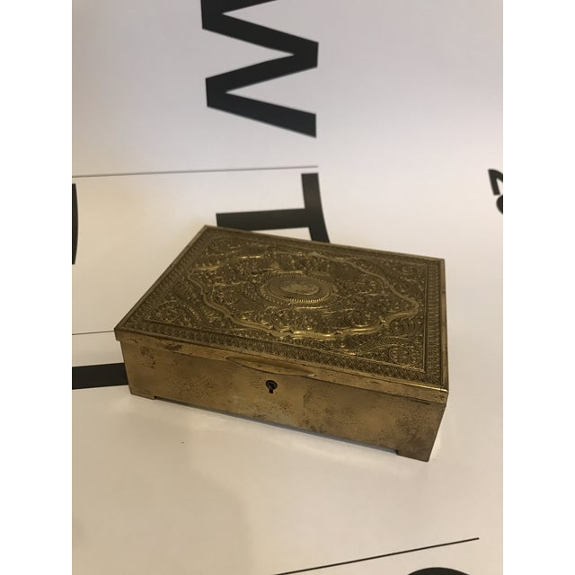 Vintage Brass Clad Trinket/Jewelry Box For Sale In Minneapolis - Image 6 of 7