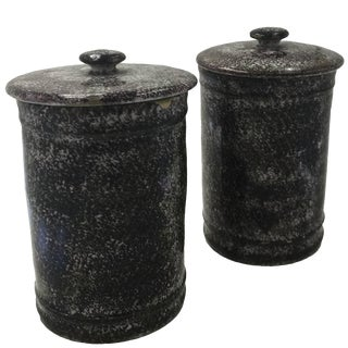Early 19th Century Antique Sceaux Faux Porphyry Tobacco Jars - a Pair For Sale