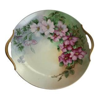 Vintage Hand-Painted Floral Serving Dish For Sale