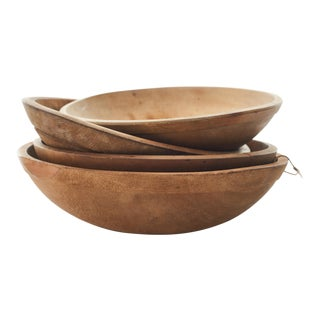 Early 20th Century English Wood Dough Bowls - Set of 4 For Sale