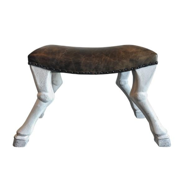 White painted mahogany legs with carved goat legs, dark brown leather seats with bronze nailhead trim. Two Available.