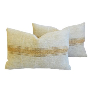 "Custom Golden Striped French Grain Sack Feather/Down Pillows 24"" X 16"" - Pair"