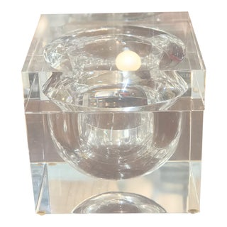 Vintage Alessandro Albrizzi Lucite Swivel Top Ice Bucket. For Sale