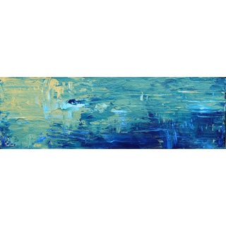 Abstract Impressionist Original Art Painting on Canvas, Blue Water Gold For Sale