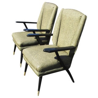 Vintage Mid-Century Pair of Italian Style Lounge Chairs Mr14715 For Sale