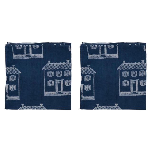 Countryside Cottage Napkins, Indigo - A Pair For Sale - Image 4 of 4