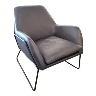 Charcoal Gray Leather With Black Metal Frame Armchair