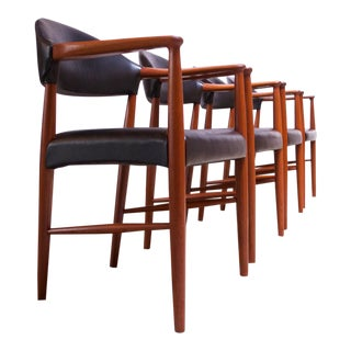 Set of Four Teak and Leather Armchairs by Kurt Olsen for Slagelse Møbelværk For Sale