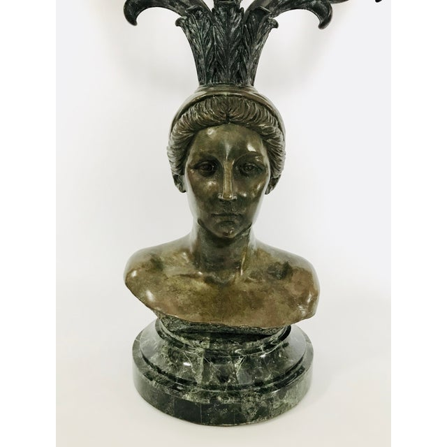 Stunning vintage maitland Smith Bronze maiden bust candelabra Bronze has a patina finish and sits on a green marble base....