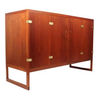 Scandinavian Modern Teak Cabinet With Brass Hinges Designed by Borge Mogensen