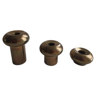 Swedish Mid-Century Modern Double Sided Brass Candleholders - Set of 3