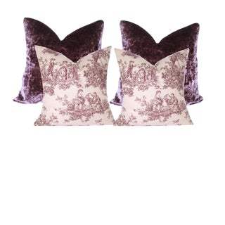 Purple Toile and Velour Velvet Pillows - Set of 4