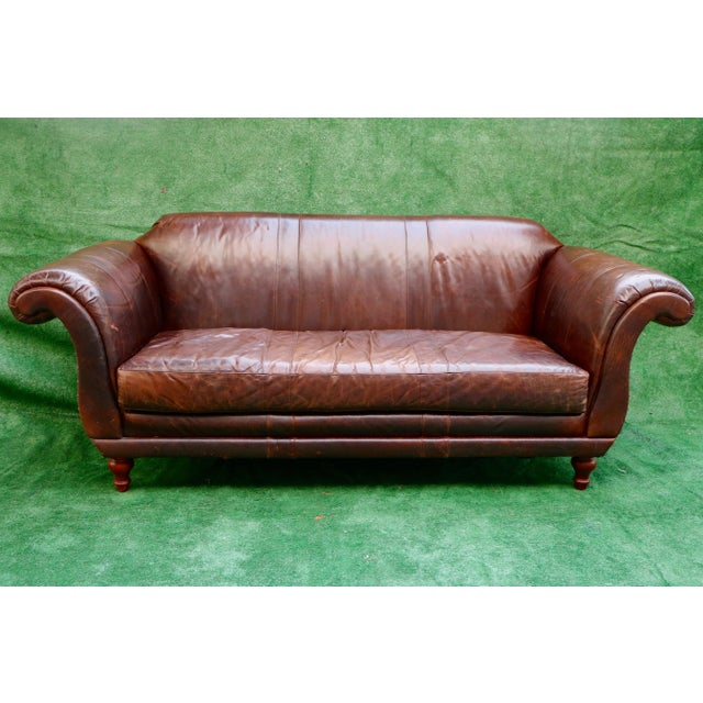 Vanguard Furniture Americana Brown Leather Sofa For Sale - Image 11 of 11
