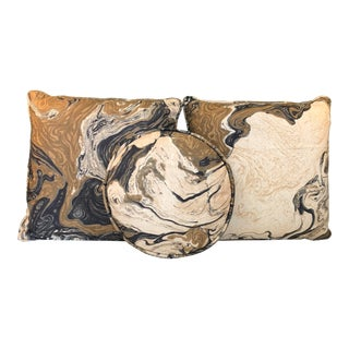 Mid Century Marbled Pillow Set For Sale