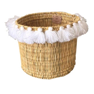 Moroccan White Tassel Large Basket For Sale
