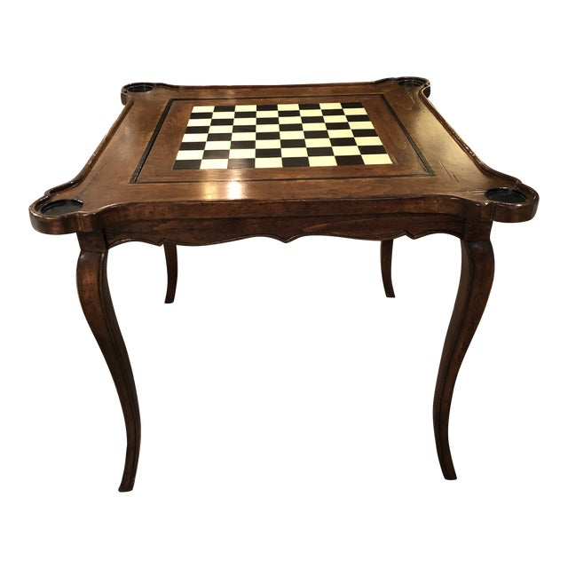 Traditional Sterling Collection French Game Table For Sale