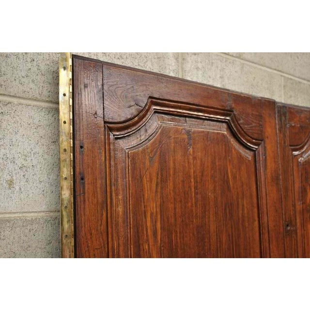 Metal Antique French Louis XVI Style Carved Oak Interior Double Doors - Set of 2 For Sale - Image 7 of 13