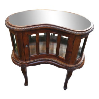 Antique Louis XV Style Mirror Top Kidney Shape Vitrine Side Table Cabinet For Sale
