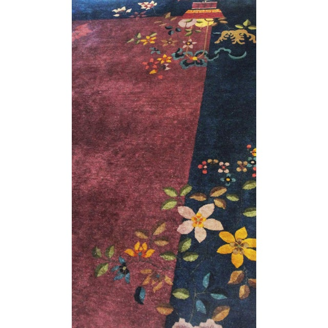 """Antique Art Deco Chinese Oriental Rug-8' X 9'6"""" For Sale - Image 9 of 12"""