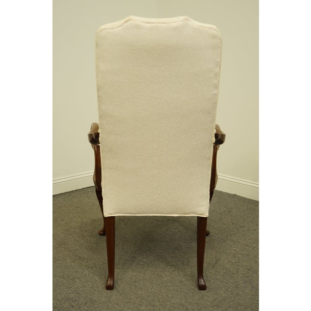 Wood Late 20th Century Hickory Chair Solid Mahogany Queen Anne Style Upholstered Dining Arm Chair For Sale - Image 7 of 9