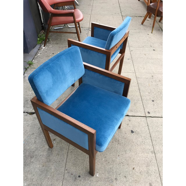 Robert John Walnut Arm Chairs in Blue Velvet For Sale In Los Angeles - Image 6 of 11