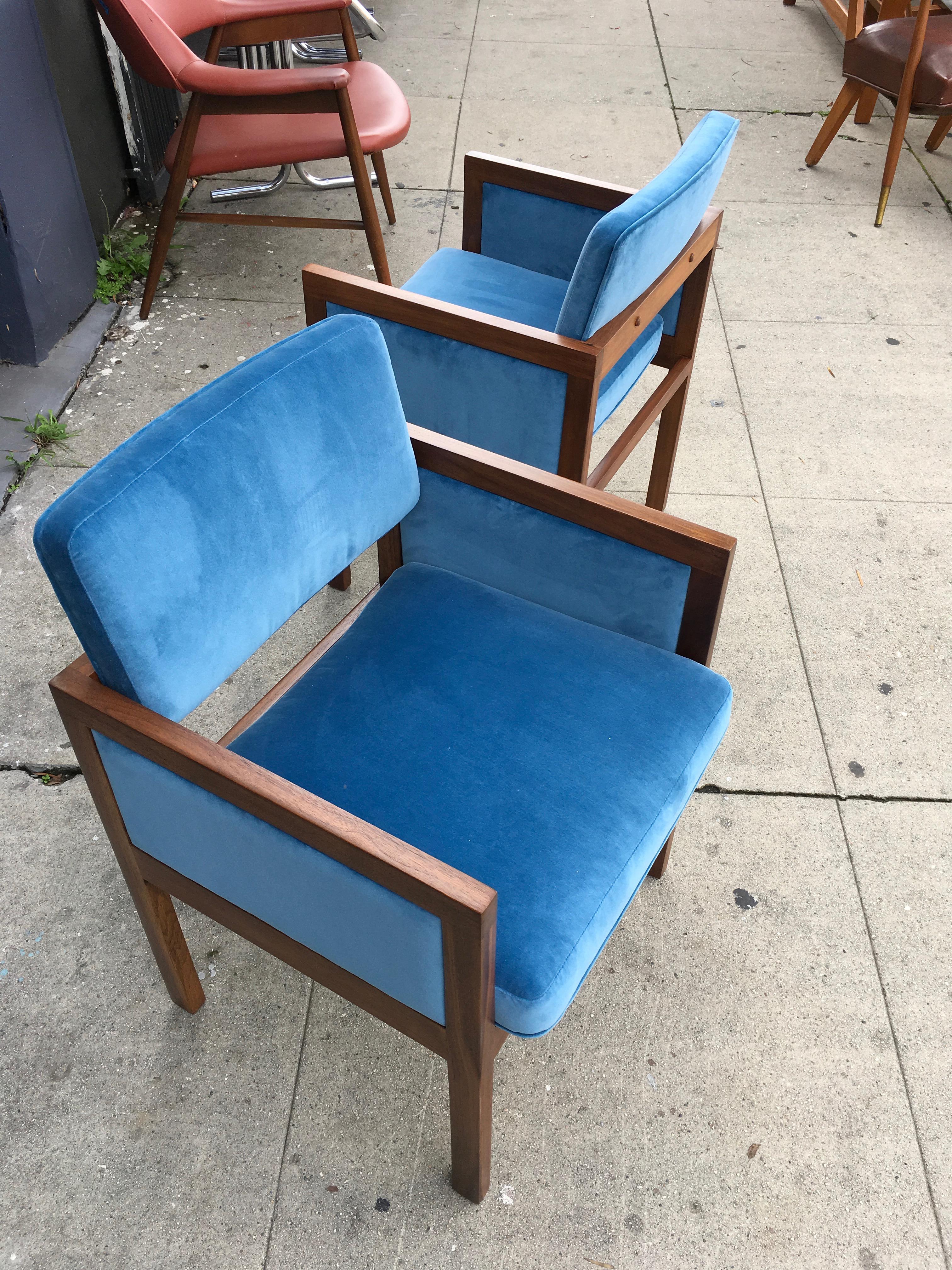 Robert John Walnut Arm Chairs In Blue Velvet   Image 6 Of 11