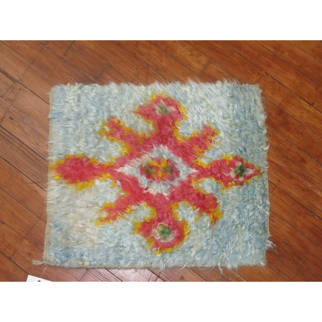 Boho Chic Turkish Tulu Mat- 1′6″ × 1′9″ For Sale - Image 3 of 3