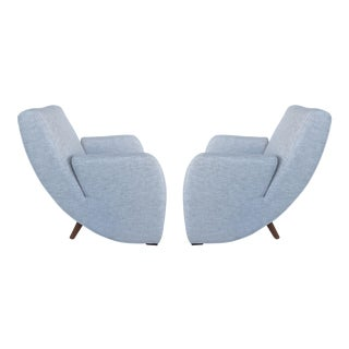 Mid-Century Modern Upholstered Club Chairs - A Pair For Sale