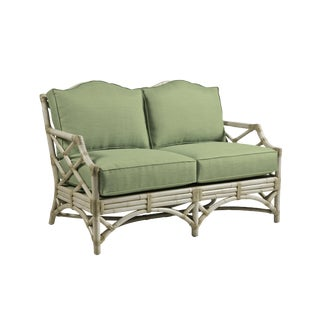 David Francis Classic White Rattan Chinoiserie Loveseat For Sale