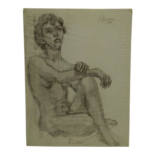 "1951 Mid-Century Modern Original Drawing on Paper, ""Crossing Nude"" by Tom Sturges Jr"