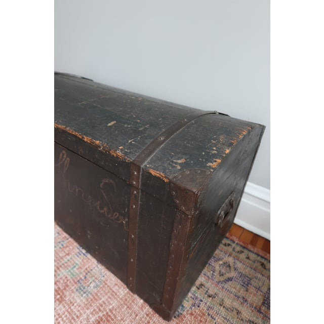 Shabby Chic Dometop Steamer Trunk Chest With Metal Strapping and Iron Handles For Sale - Image 3 of 11