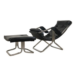 Mid Century Leather & Chrome Gravity Lounge Chair With Ottoman For Sale