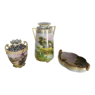 Nippon Hand-Painted Porcelain Vases and Bowl Three Pieces Porcelain Group For Sale