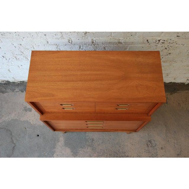 "Brown Kent Coffey ""Focus"" Mid-Century Modern Highboy Dresser For Sale - Image 8 of 9"