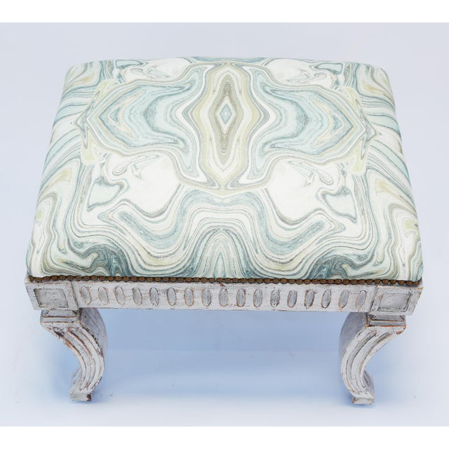 Painted Neoclassical Stool With Crown Seat For Sale - Image 4 of 7