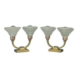 1920s Sabino Art Deco Table Lamps With Shades by Lorrain - a Pair EU Wired For Sale