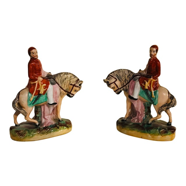 Antique Staffordshire Figurines on Horseback - a Pair For Sale