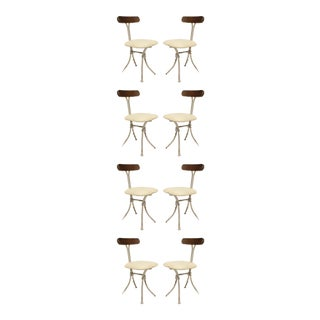 French Mid Century Wrought Iron Cafe Chairs - Set of 8 For Sale