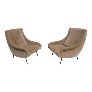 Vintage Reupholstered Taffy Cotton Velvet Armchairs, 1950s - A Pair