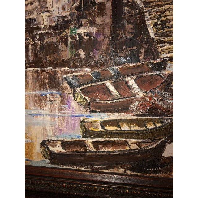 Nautical Painting of French Seaside Fishing Village For Sale In Dallas - Image 6 of 9