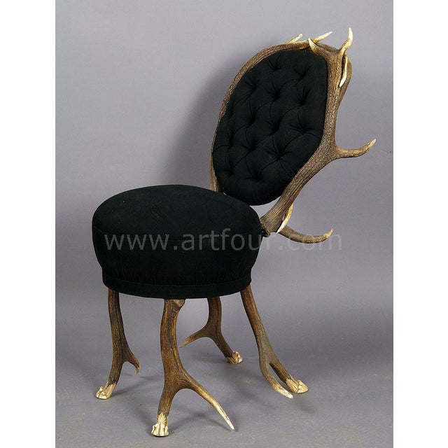 two very rare antler parlor chairs made of stag antlers with feet carved as lions claws. french, ca. 1860 - covering...