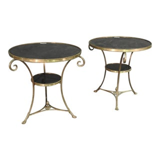 Pair of Solid Brass and Black Granite French Louis XV Style Gueridons End Tables For Sale