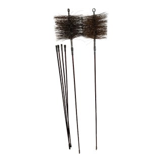 Vintage Chimney Sweep Brooms With 4 Extension Poles - 6 Pieces For Sale