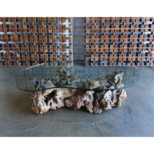 Sculptural Driftwood Coffee Table. Circa 1965. This table retains its original freeform glass top.